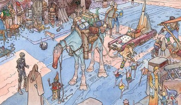 Eisley traditional art moebius qui-gon jinn cities HD wallpaper