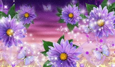 Lavender gerberas HD wallpaper