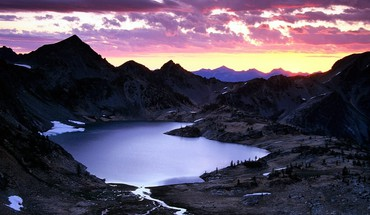 Ice sunrise mountains lakes skies HD wallpaper