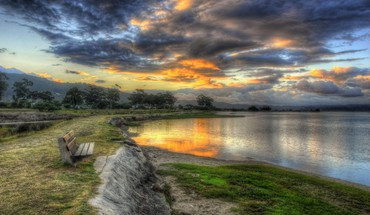 Hdr photography bench nature HD wallpaper