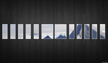 Abstract mountains nature snow dark wall window panes HD wallpaper