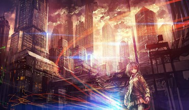 Buildings short hair scenic skyscapes anime girls HD wallpaper