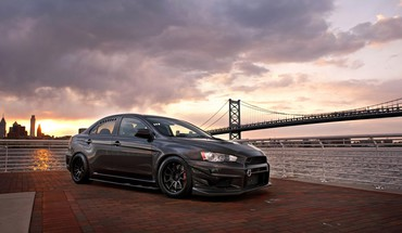 Lancer evolution x tuned black stance sea HD wallpaper