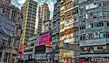 Urban scene in hong kong hdr HD wallpaper