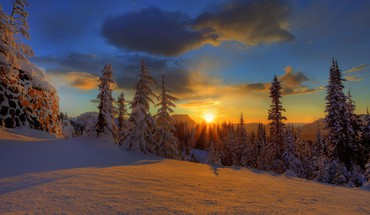 Sunset snow paradise HD wallpaper