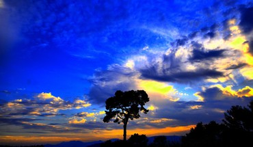 Beautiful blue yellow sunset HD wallpaper
