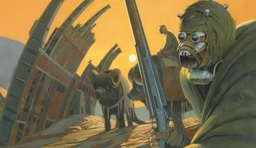 Fiction artwork ralph mcquarrie tusken raiders tatooine HD wallpaper