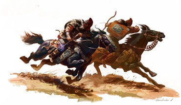 Artwork bows horses medieval warriors HD wallpaper