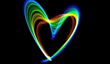 Multicolor rainbows hearts flame HD wallpaper