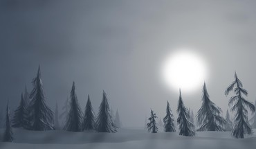 Fantasy winter haze landscape HD wallpaper