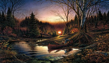 Paintings landscapes boats streams HD wallpaper