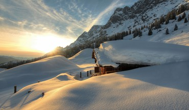 Landscapes nature snow sun austria HD wallpaper