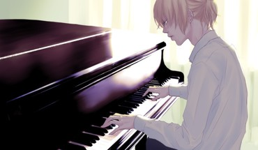 Blondes pants piano tears sad shirts sitting ponytails HD wallpaper