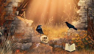 Autumn dawn gothic digital art morning crows raven HD wallpaper