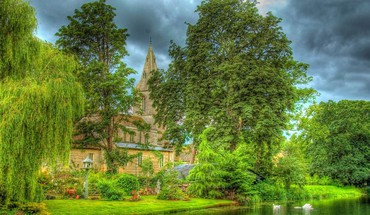Lovely riverside country church hdr HD wallpaper