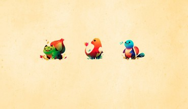 Minimalistic Bulbasaur Squirtle Charmander  HD wallpaper