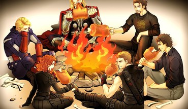 Steve Rogers Clint Barton fan art de feu de camp  HD wallpaper