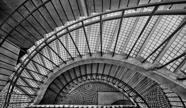 Architecture grayscale stairways tiles HD wallpaper