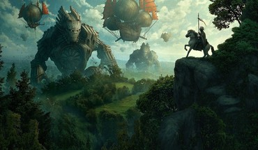 Horses hot air balloons steam punk medival HD wallpaper