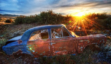 Sunset old car HD wallpaper
