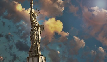 3d statue of liberty clouds HD wallpaper