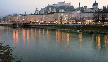 Sunset landscapes cityscapes austria rivers salzburg HD wallpaper