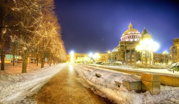 Boston cityscapes lights night HD wallpaper