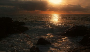 Sunset waterscapes mer  HD wallpaper