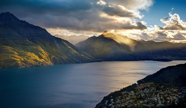 Mountains clouds landscapes nature lakes trey ratcliff queenstown HD wallpaper