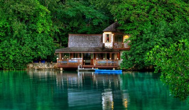 Green trees jamaica house HD wallpaper