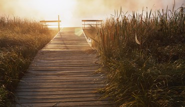 Dock landscapes multiscreen panorama HD wallpaper