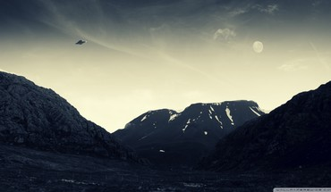 Mountains nature flying ufo HD wallpaper