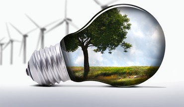 Light bulbs trees wind turbines HD wallpaper