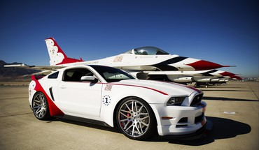 F-16 fighting falcon ford mustang thunderbirds (squadron) cars HD wallpaper