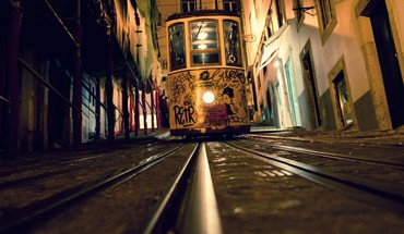 Lisbon elevators railroad tracks tram HD wallpaper
