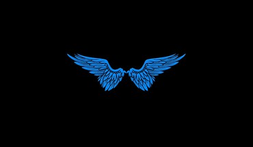 Angels blue wings black minimalistic simple HD wallpaper