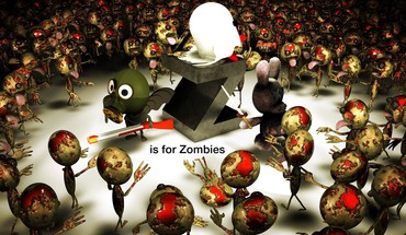 Digital art zombies HD wallpaper