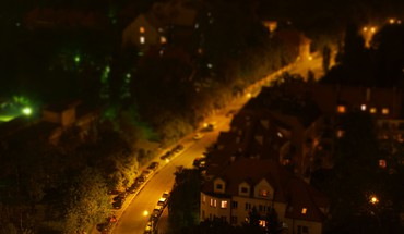 Cityscapes night tiltshift HD wallpaper
