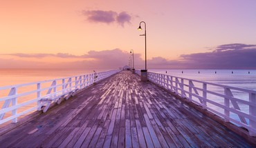 Coast horizon dawn pier australia skyscapes sea HD wallpaper