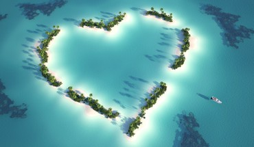 Hearts islands love nature sea HD wallpaper