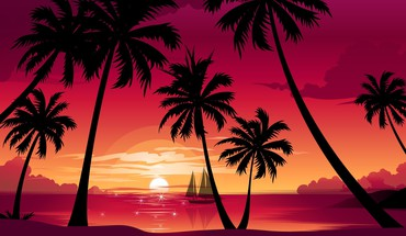 Paradise resort sunset HD wallpaper