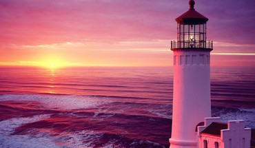North head lighthouse in pink HD wallpaper