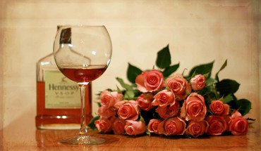 Roses and wine HD wallpaper