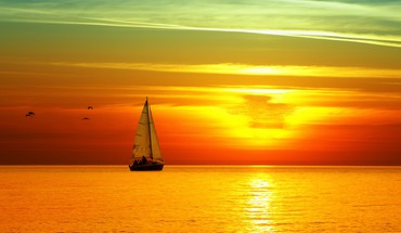 Boat sunset HD wallpaper