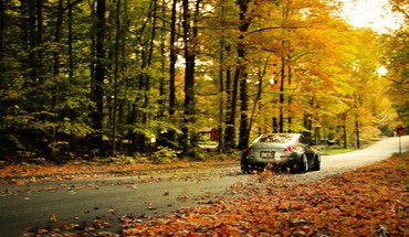 Nissan 350z fallen leaves HD wallpaper
