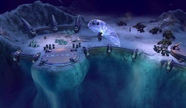 Landscapes snow night cgi halo wars ravine HD wallpaper