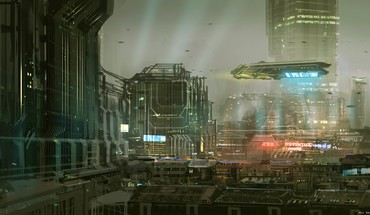 Cityscapes futuristic signs buildings spaceships science fiction artwork HD wallpaper
