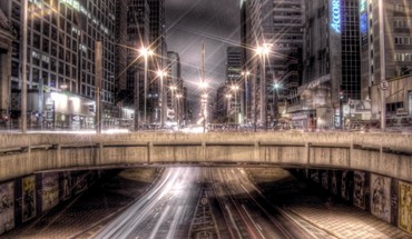 Overpass late in the city hdr HD wallpaper