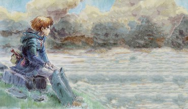 Sitting nausicaa of the valley wind water colors HD wallpaper
