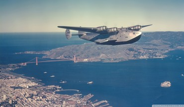 Boeing 314 clipper sea plane over frisco HD wallpaper